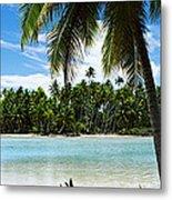 Palm Trees On The Beach, Rangiroa Metal Print