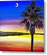 Palmetto Sunset Moon And Stars Metal Print