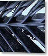 Palms E Cyan Metal Print