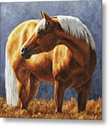 Palomino Horse - Gold Horse Meadow Metal Print by Crista Forest