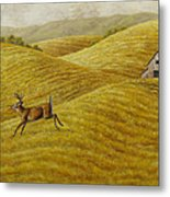 Palouse Farm Whitetail Deer Metal Print by Crista Forest