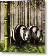 Pandas In A Bamboo Forest Metal Print