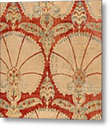 Panel Of Red Cut Velvet With Carnation Metal Print