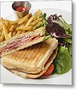Panini With Ham Melted Cheese French Fries And Salad Metal Print