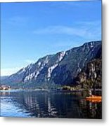 Pano Of A Man With His Fuhr Boat Metal Print