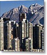 Pano Vancouver Snowy Skyline Metal Print by David Smith