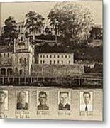 Panorama Alcatraz Infamous Inmates Sepia Metal Print