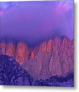 Panorama Alpenglow On Mount Whitney Eastern Sierras California Metal Print