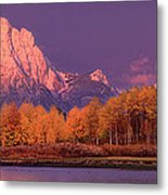 Panorama Dawn Lights Up Mount Moran In Grand Tetons National Park Metal Print