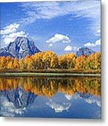 Panorama Fall Morning At Oxbow Bend Grand Tetons National Park Metal Print