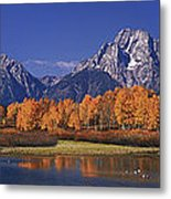 Panorama Fall Morning Oxbow Bend Grand Tetons National Park Wyoming Metal Print