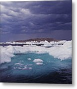Panorama Ice Floes In A Stormy Sea Wager Bay Canada Metal Print
