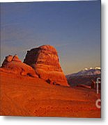 Panorama Moonrise Over Delicate Arch Arches National Park Utah Metal Print