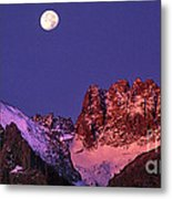 Panorama Moonset Middle Palisades Glacier Eastern Sierras California Metal Print