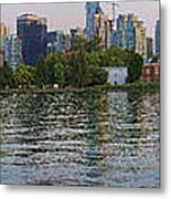 Panorama Of Coal Harbour And Vancouver Skyline At Dusk Metal Print