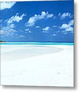 Panorama Of Deserted Sandy Beach And Island Maldives Metal Print by Matteo Colombo