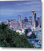 Panorama Of Downtown Seattle And Space Needle From Kerry Park At Dusk - Seattle Washington State Metal Print