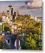 Panorama Of Downtown Seattle And Space Needle From Kerry Park - Seattle Washington State Metal Print