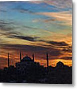 Panorama Of Istanbul Sunset- Call To Prayer Metal Print by David Smith
