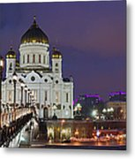 Panorama Of Moscow Cathedral Of The Christ The Savior - Featured 3 Metal Print