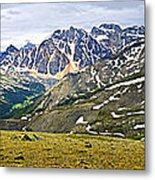 Panorama Of Rocky Mountains In Jasper National Park Metal Print
