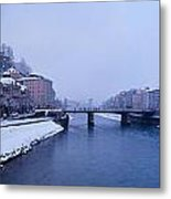 Panorama Of Salzburg In The Winter Metal Print