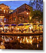 Panorama Of San Antonio Riverwalk At Dusk - Texas Metal Print