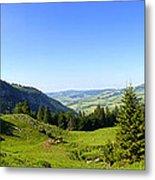 Panorama Of The Appenzeller Hills Near Mount Saentis Switzerland Metal Print