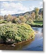 Panorama Of The Little River At Stowe Vermont Metal Print