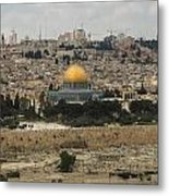Panorama Of The Temple Mount Including Al-aqsa Mosque And Dome Metal Print