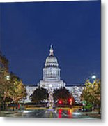 Panorama Of The Texas State Capitol At Christmas Metal Print