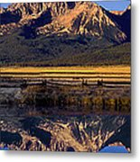 Panorama Reflections Sawtooth Mountains Nra Idaho Metal Print