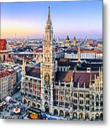 Panorama View Of Munich City Center Metal Print