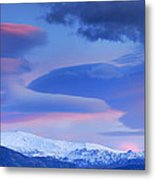 Panoramic Lenticular Clouds Over Sierra Nevada National Park Metal Print