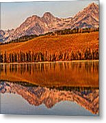 Panoramic Of Little Redfish Lake Metal Print