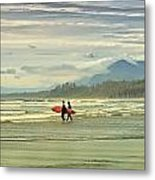 Panoramic Of Surfers On Long Beach, Bc Metal Print