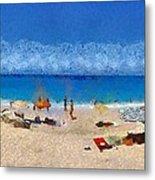 Panoramic Painting Of Porto Katsiki Beach Metal Print