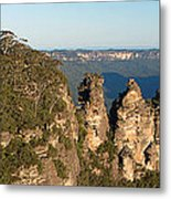 Panoramic Photo Of Blue Mountain And The Three Sisters Metal Print