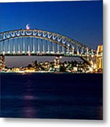 Panoramic Photo Of Sydney Night Scenery Metal Print