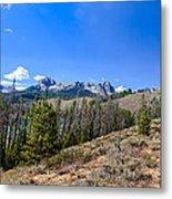 Panoramic Sawtooth Range And Little Redfish Lake Metal Print by Robert Bales