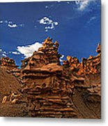 Panoramic Sunset Light On Sandstone Formations Fantasy Canyon  Metal Print