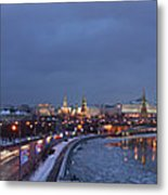 Panoramic View Of Moscow River And Kremlin - Featured 2 Metal Print