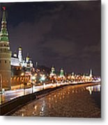 Panoramic View Of Moscow River And Moscow Kremlin Embankment Metal Print