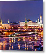 Panoramic View Of Moscow River And Moscow Kremlin  - Featured 3 Metal Print