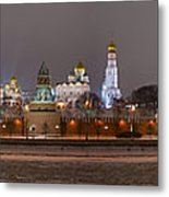 Panoramic View Of Moscow River And Moscow Kremlin In Wintertime Metal Print