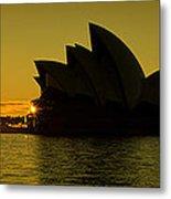 Panoramic View Of Sunrise At Sydney Opera House Metal Print