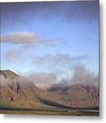 Panoramic View Of The Mountains Lit By The Sun Metal Print