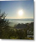 Panoramic View Over The Foggy Field Metal Print