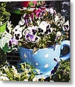 Cup Of Pansies Metal Print