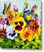 Pansies With Butterfly Metal Print